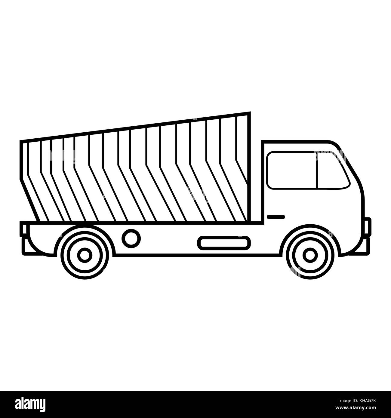 Garbage Truck Icon Outline Style