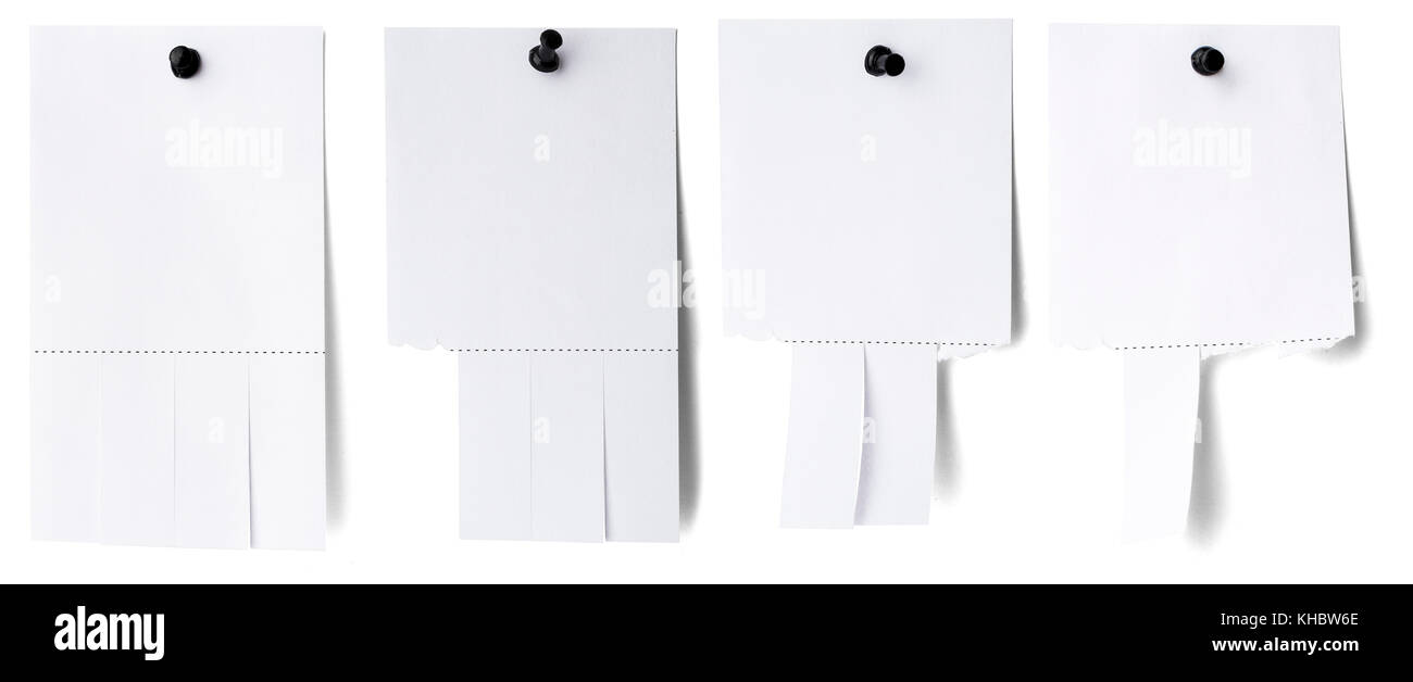 Blank white paper with tear off tabs Stock Photo: 165603718 - Alamy