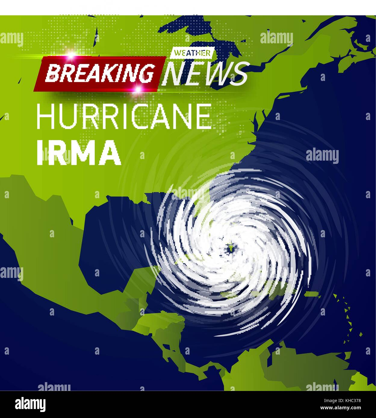 Breaking News Tv Realistic Hurricane Cyclone Vector Illustration On