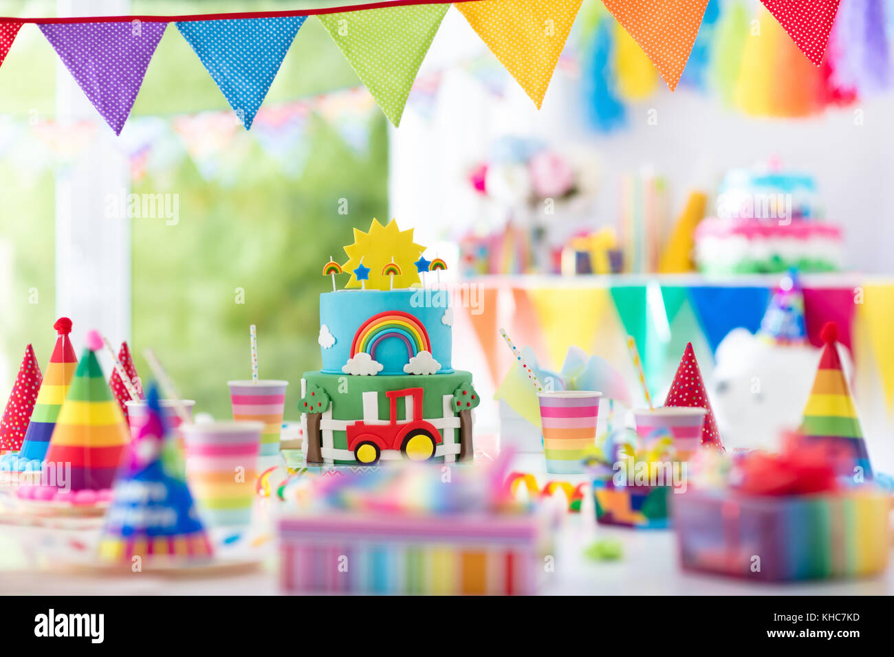 Kids Birthday Party Decoration Colorful Cake With Candles Farm And