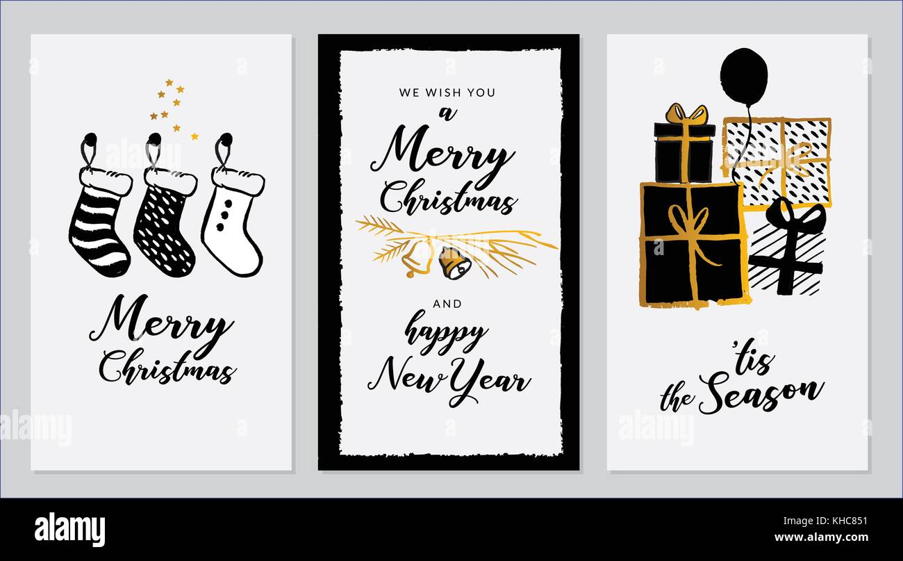 Vector set of hand drawn of greeting cards great print for stock vector set of hand drawn of greeting cards great print for invitations posters tags merry christmashappy new year happy holidays festive banner kristyandbryce Image collections