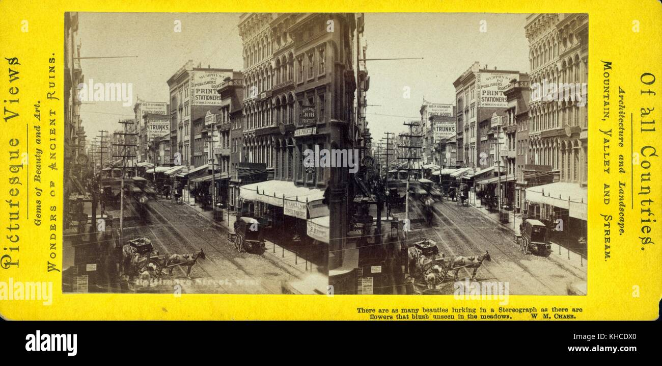 Baltimore Street View Showing Wagons Car Tracks Businesses Signs Awnings Maryland 1880 From The New York Public Library