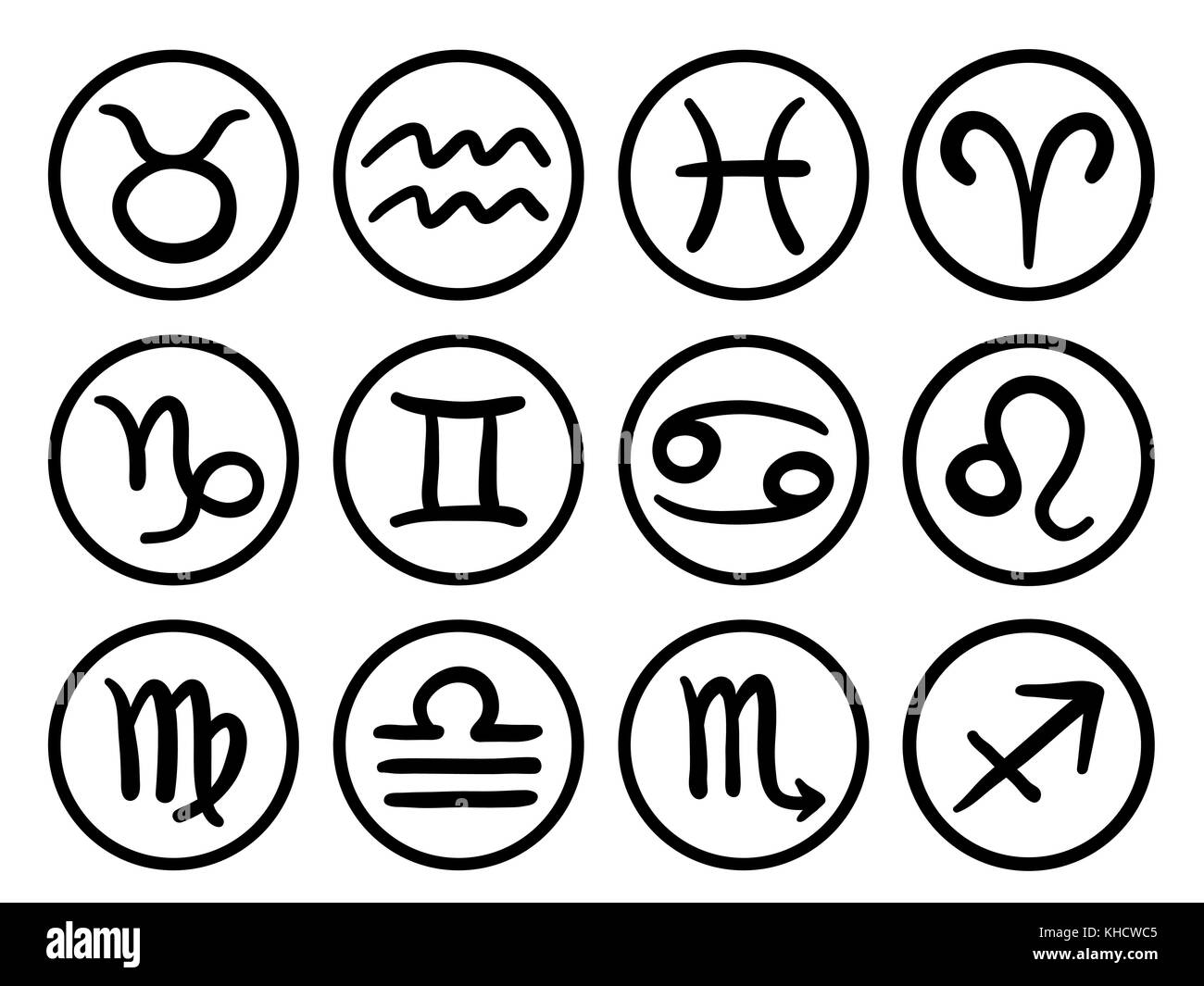 Collection of hand drawn zodiac signs and their names vector collection of hand drawn zodiac signs and their names vector graphics astrology set illustration buycottarizona