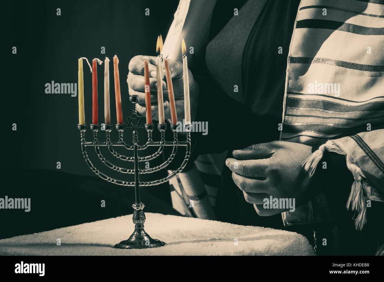 Lighting Menoral Candles On Jewish Candle Lights