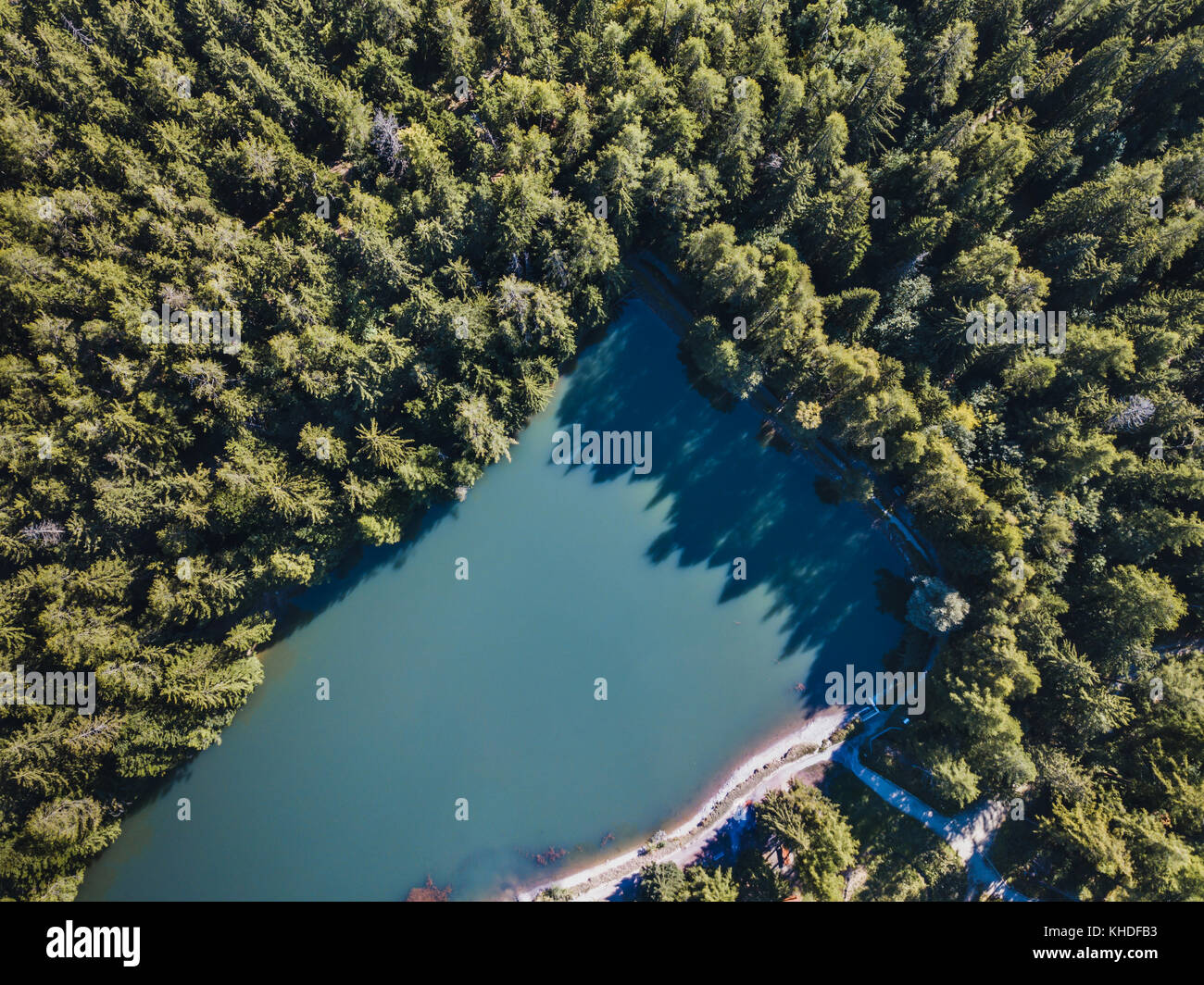 Aerial Landscape Of Beautiful Mountain Lake In The Forest Top View