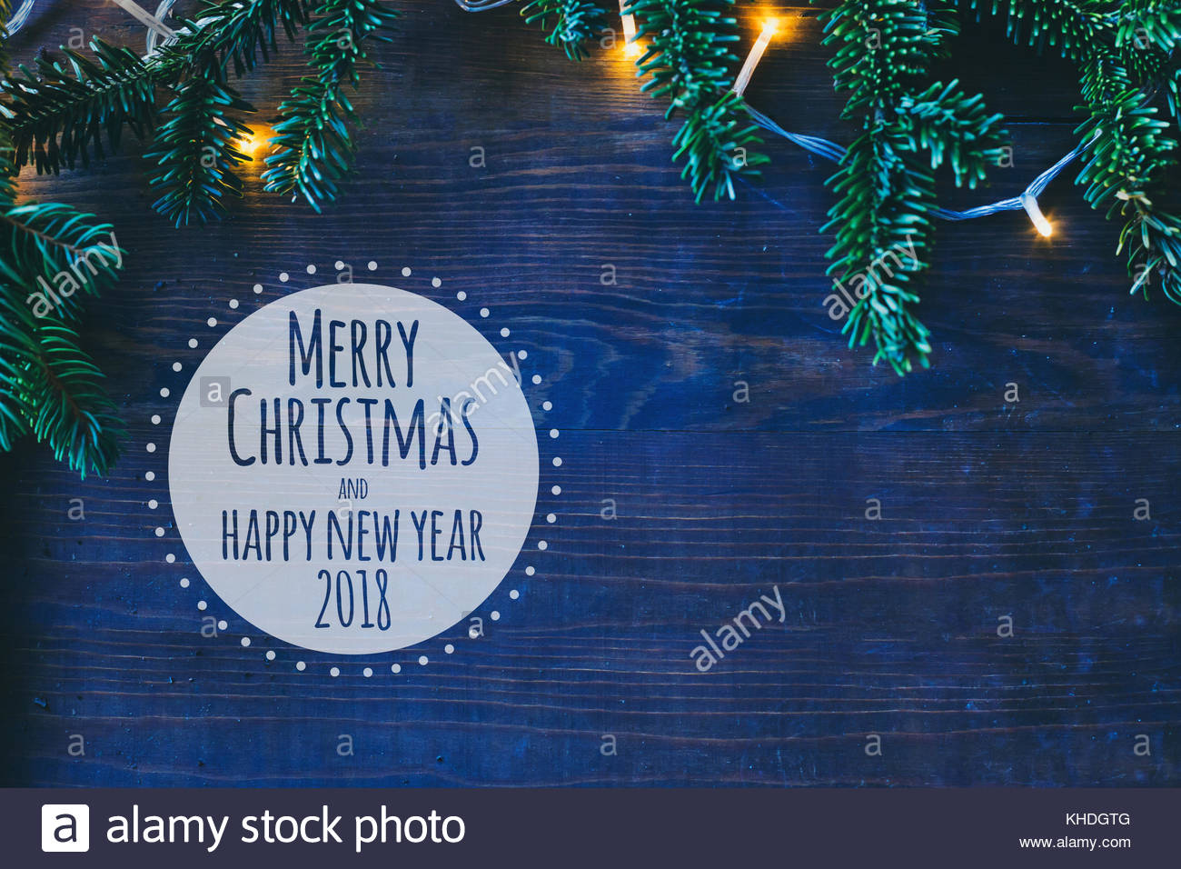 Merry Christmas and Happy New Year 2018 greeting card with copy ...