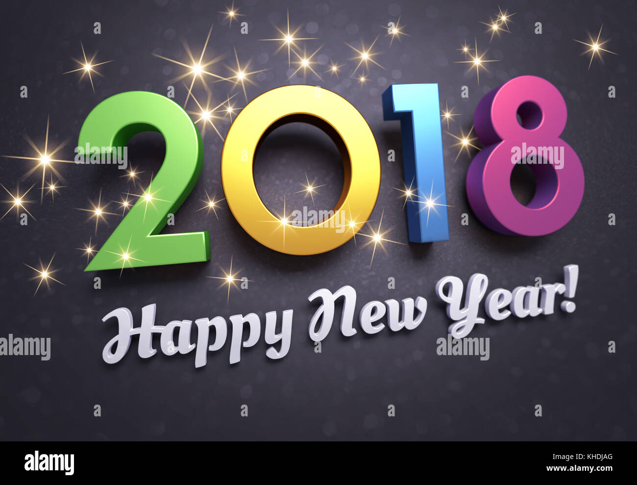 Colorful New Year Date 2018 And Greetings Glittering On A Black