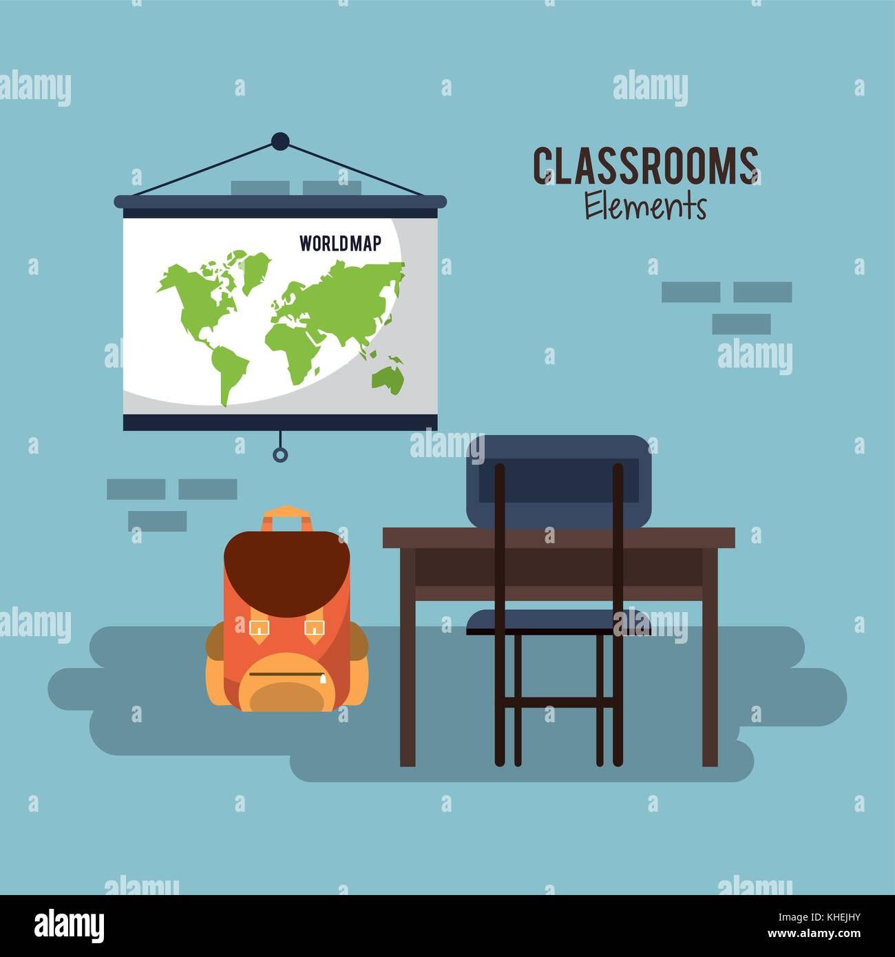 Classroom Design Elements ~ Illustration maps stock photos