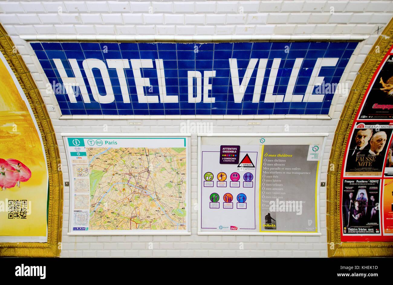 Paris France Paris Metro Station Hotel De Ville Tiled Design On