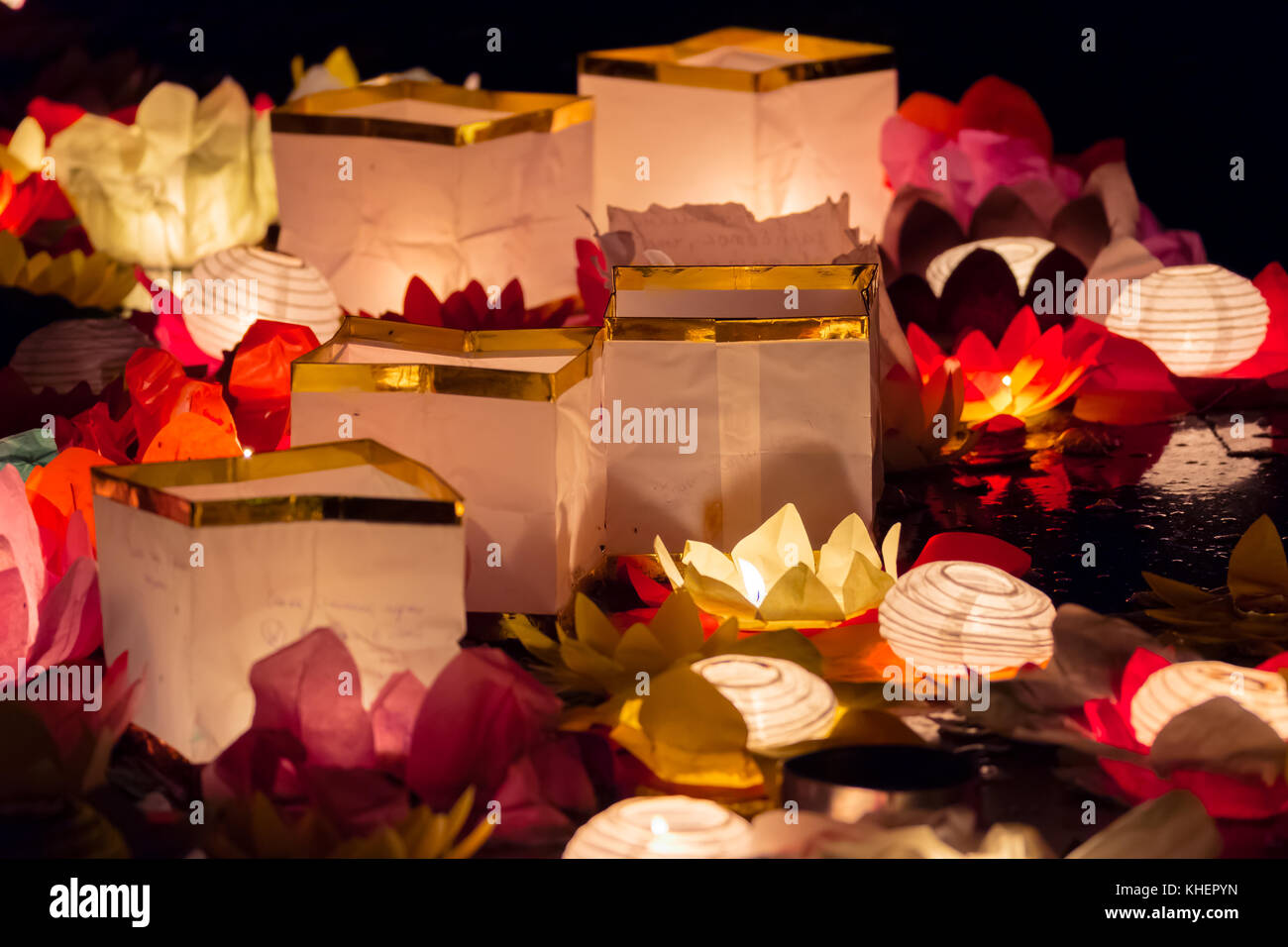 Floating Lotus Flower Paper Lanterns On Water Stock Photo 165667817