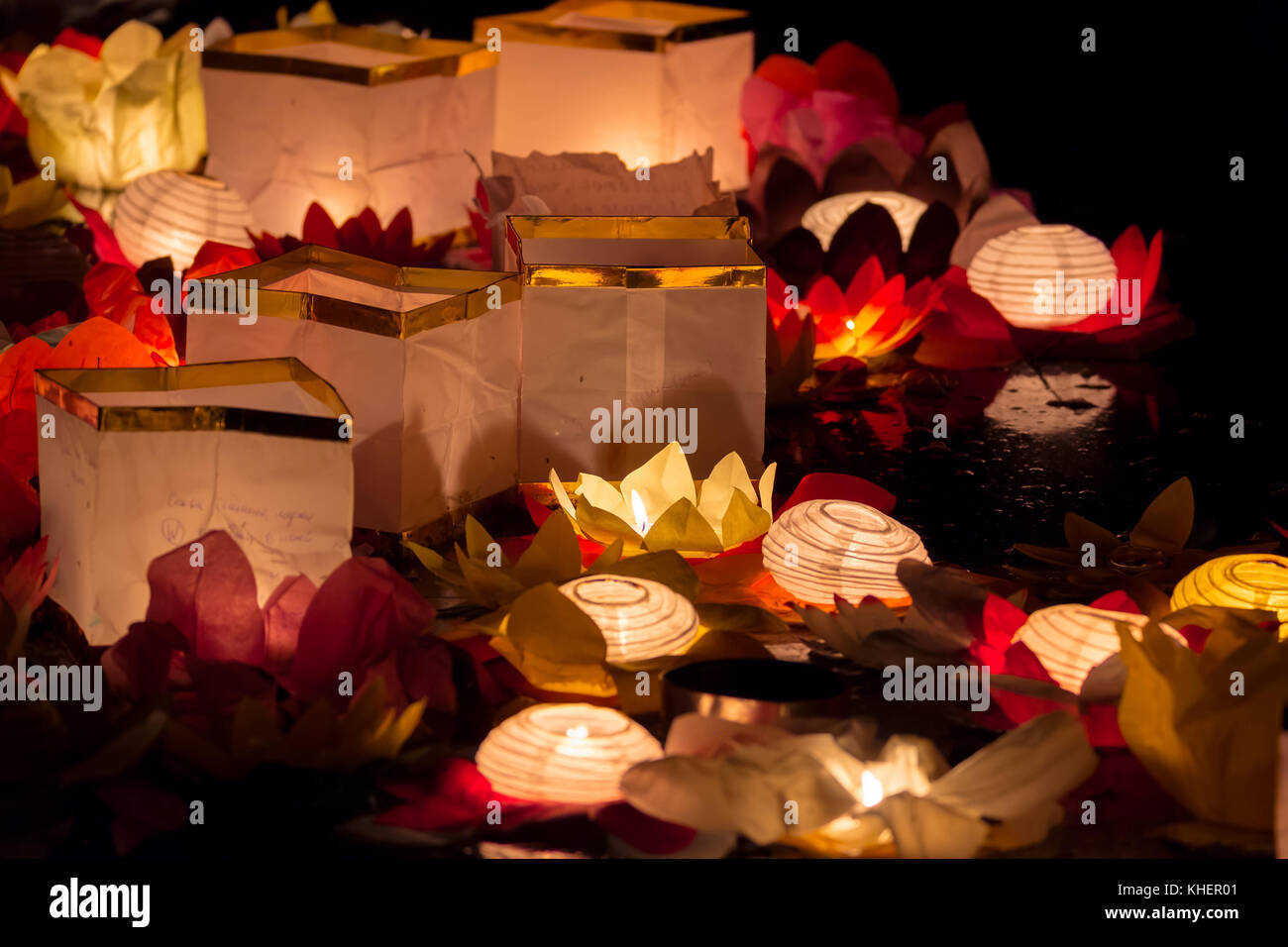 Floating Lotus Flower Paper Lanterns On Water Stock Photo 165667825