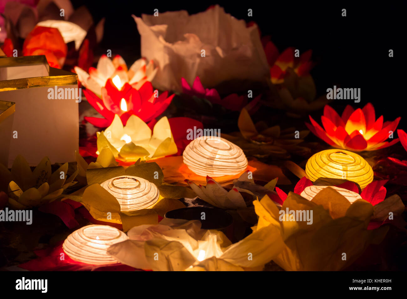 Floating Lotus Flower Paper Lanterns On Water Stock Photo 165667841