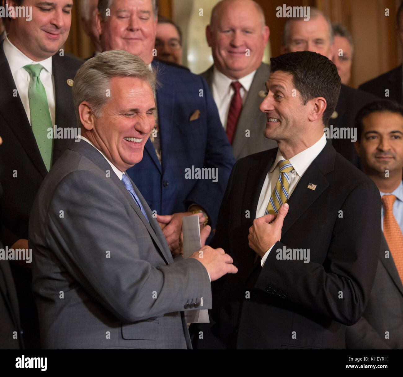 House Majority Leader Kevin McCarthy(left), Speaker Of The House Paul  Ryan(right) Congratulate Each Other While Celebrating The House Of  Representative ...
