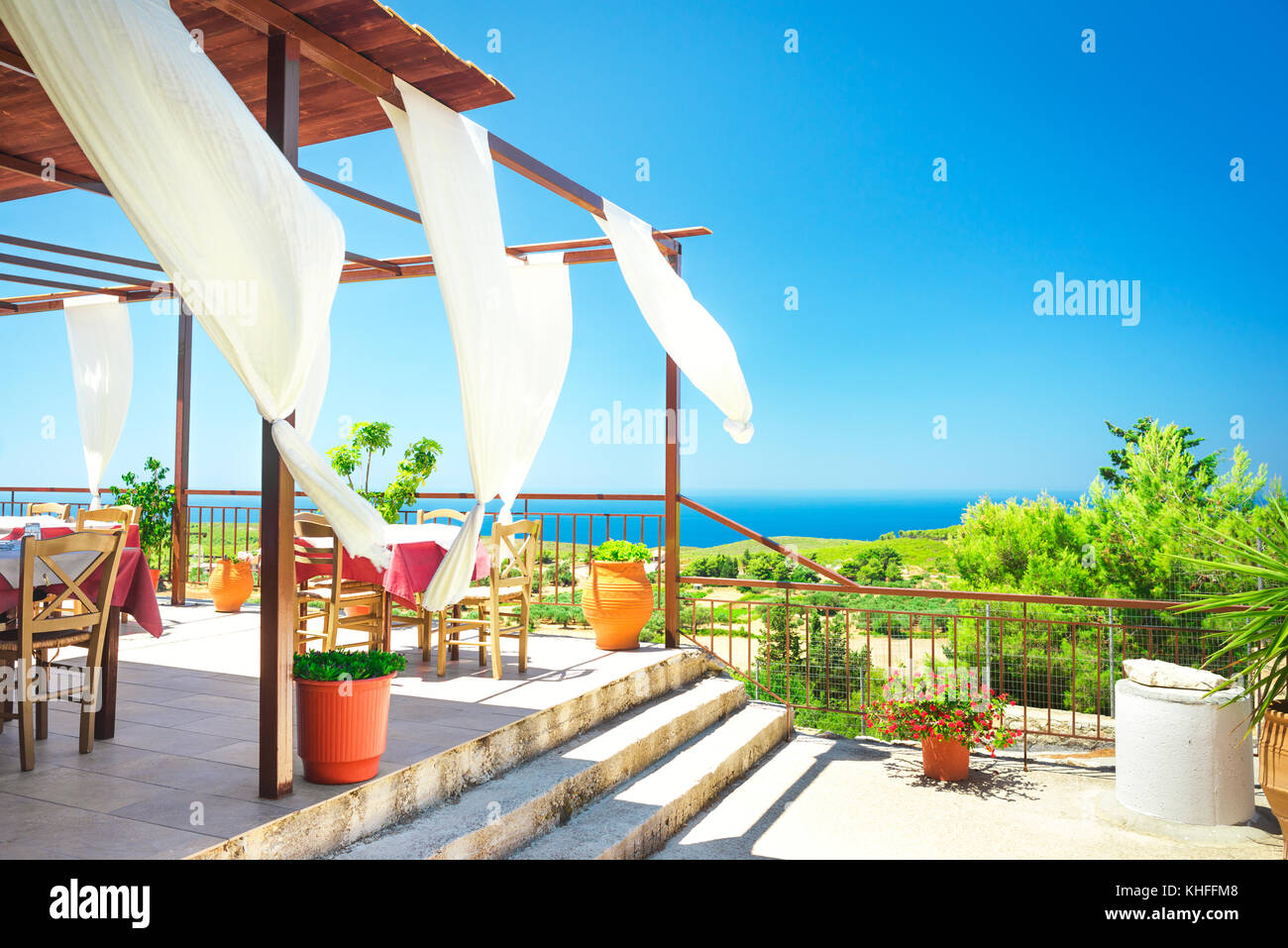 summer outdoor backgrounds. Summer Outdoor Restaurant With Amazing Sight To The Sea Coast. Summertime Vacation Background Backgrounds U