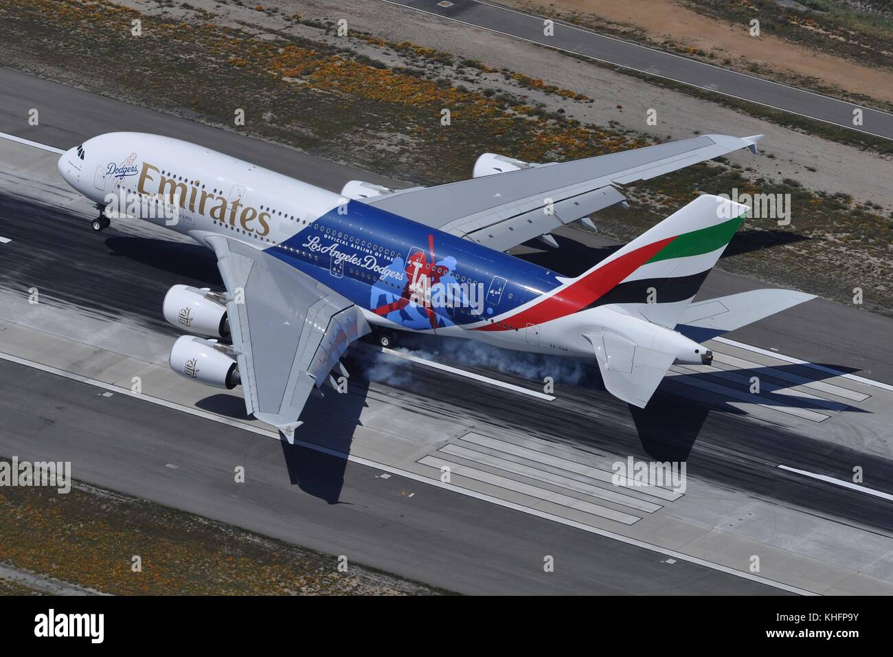Dodgers stock photos dodgers stock images alamy emirates airbus a380 800 la dodgers at lax stock image buycottarizona Image collections