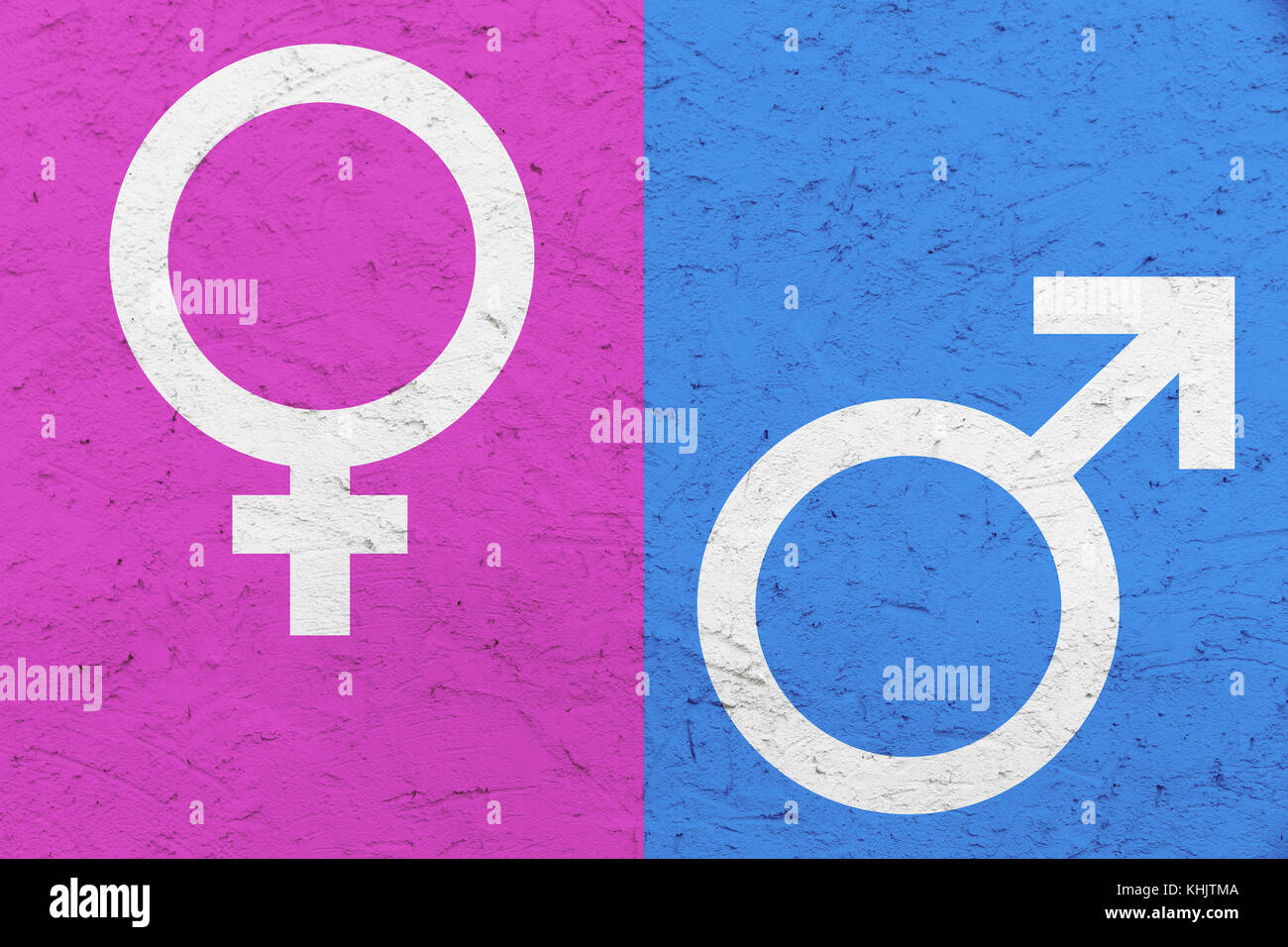 Male And Female Gender Symbols Mars And Venus Signs Over Pink And