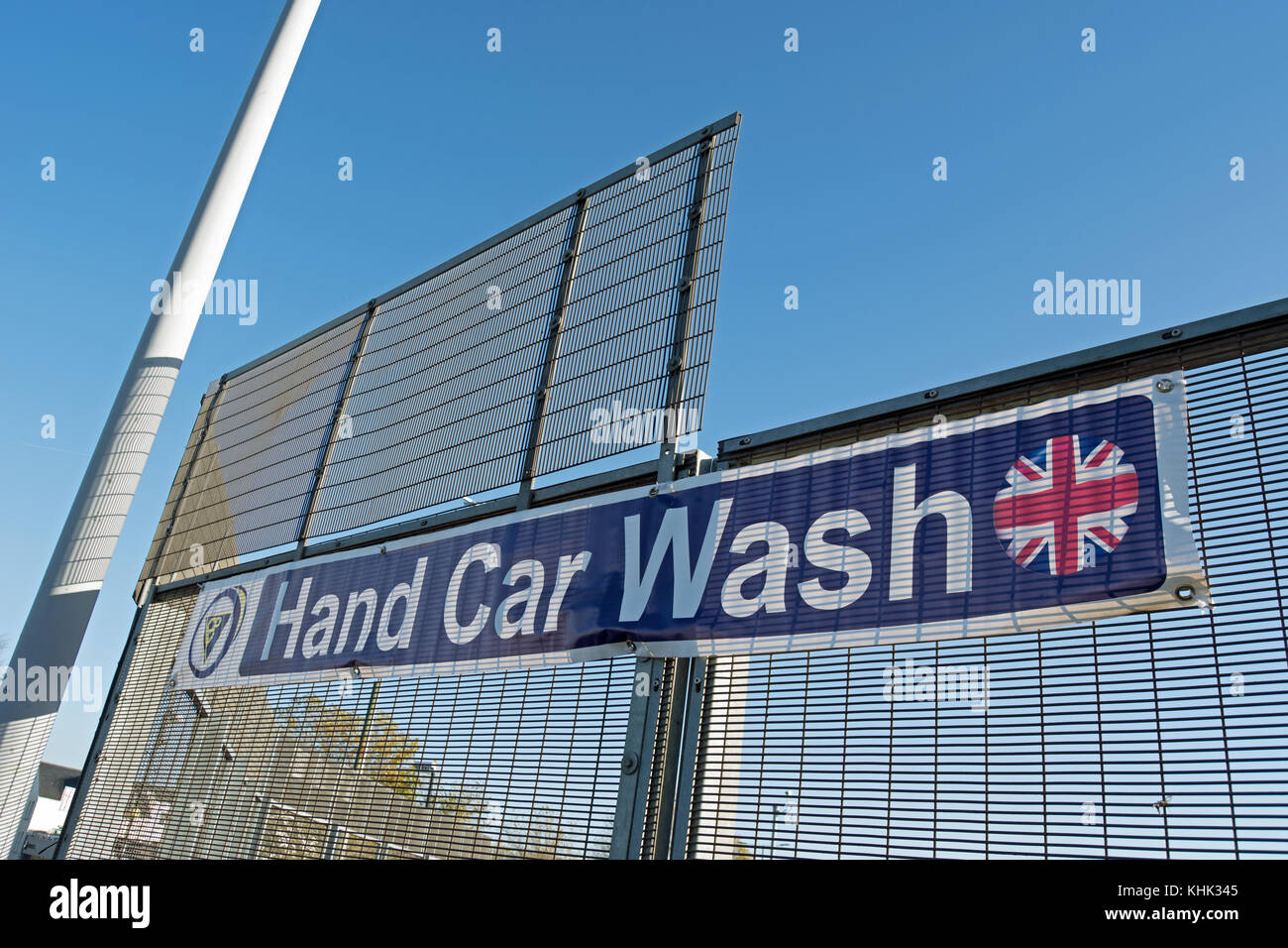 Car wash signs stock photos car wash signs stock images alamy hand car wash sign fixed to railings in east sheen southwest london england solutioingenieria Gallery