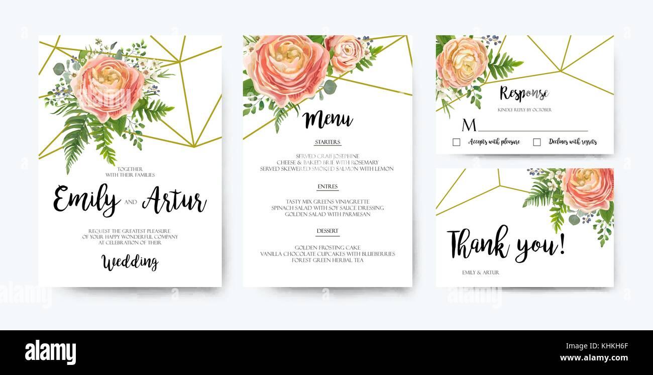 Wedding Invitation, floral invite card Design: pink peach rose Stock ...