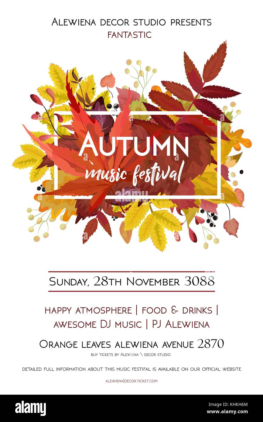 Autumn season party festival invite poster banner Vector watercolor ...