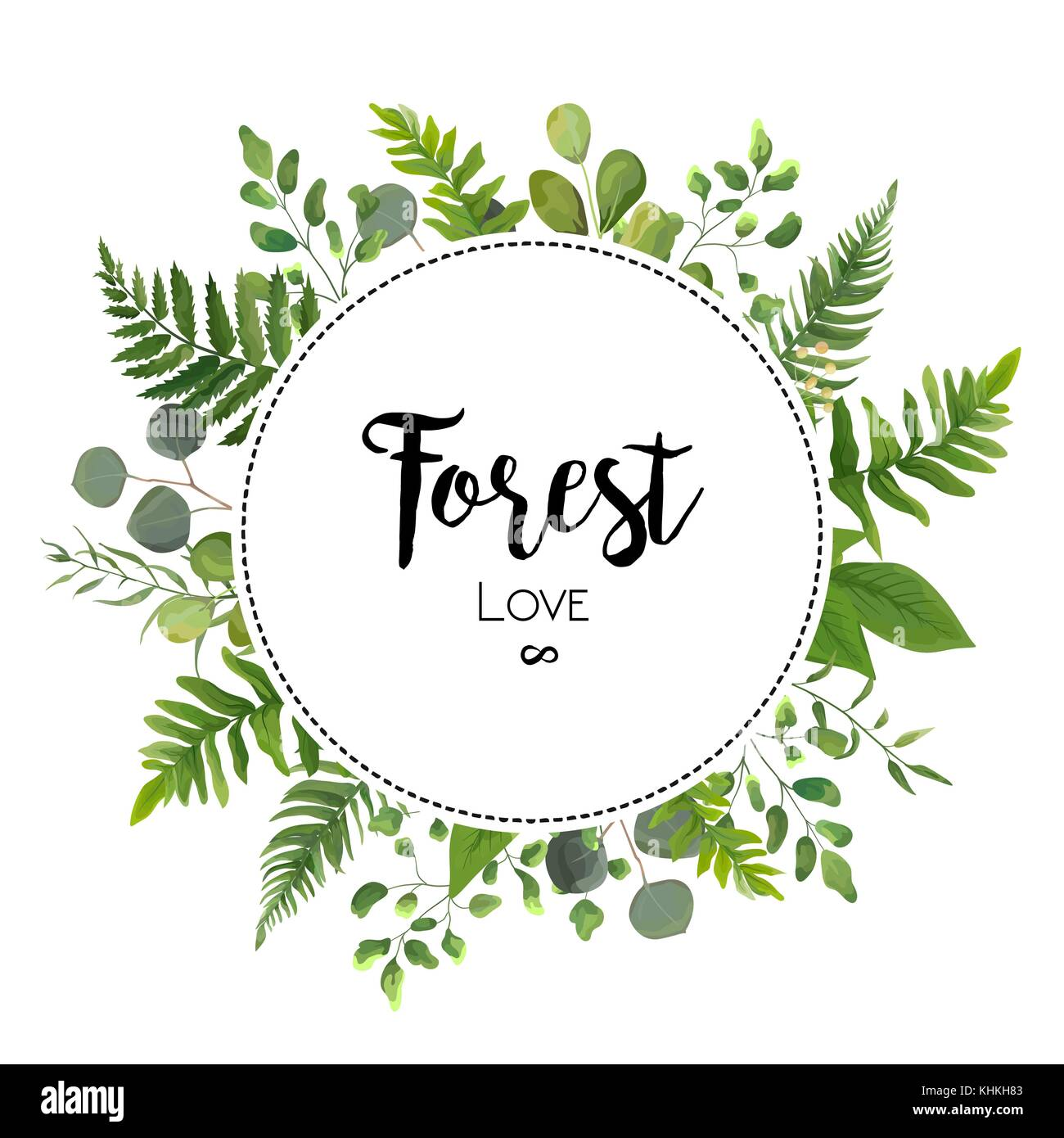 Floral vector invite card design with green eucalyptus fern leaves floral vector invite card design with green eucalyptus fern leaves elegant greenery berry forest round circle wreath beautiful cure frame border prin stopboris Image collections