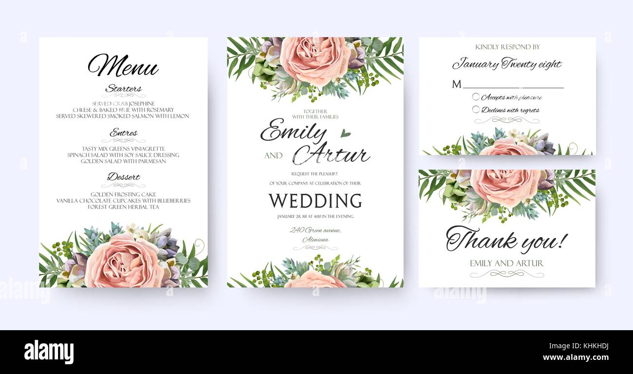 Wedding invitation floral invite card design garden lavender pink wedding invitation floral invite card design garden lavender pink peach rose succulent wax green palm fern leaves elegant greenery berry forest bou stopboris Gallery
