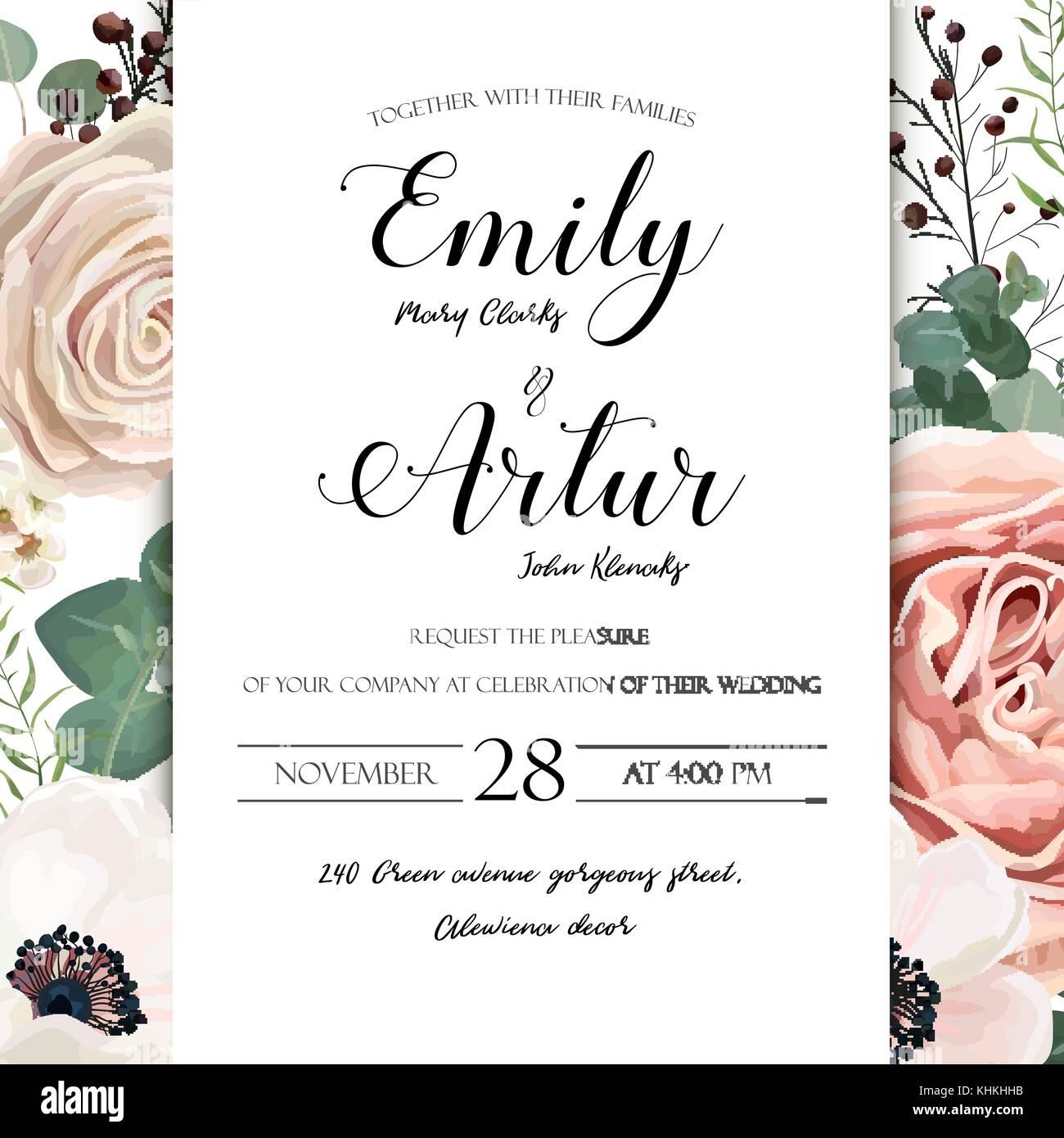 floral wedding invitation elegant invite card vector design garden