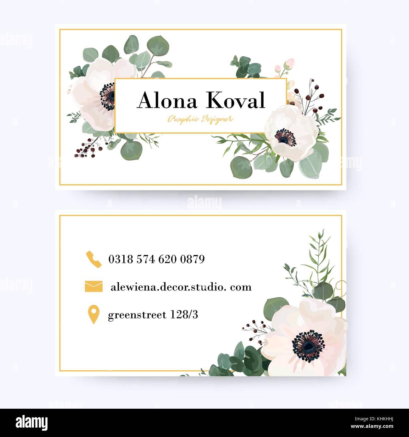 Floral business card design. Vintage anemone flower eucalyptus ...