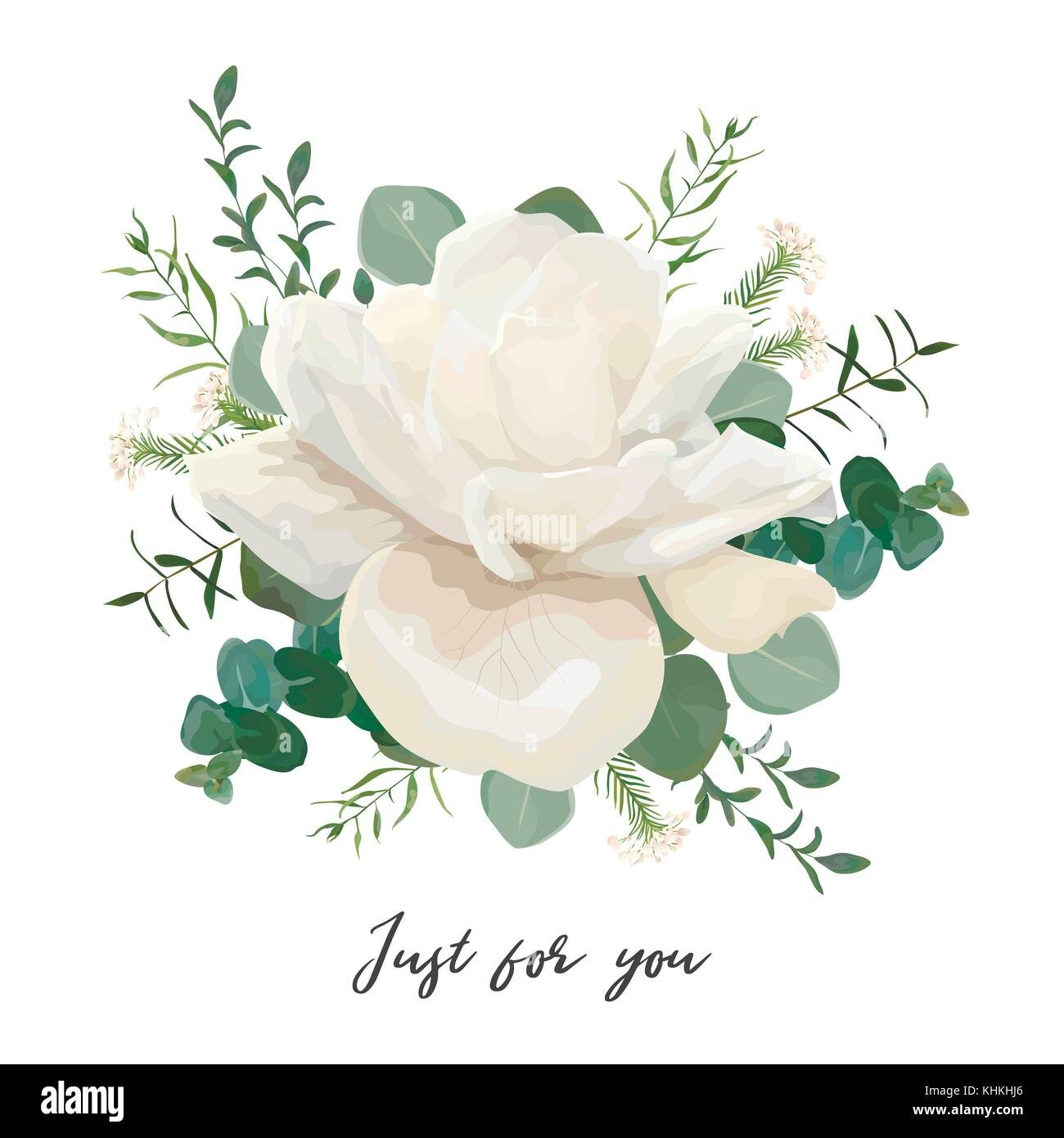 Flower Bouquet floral bunch, vector design object element. White ...