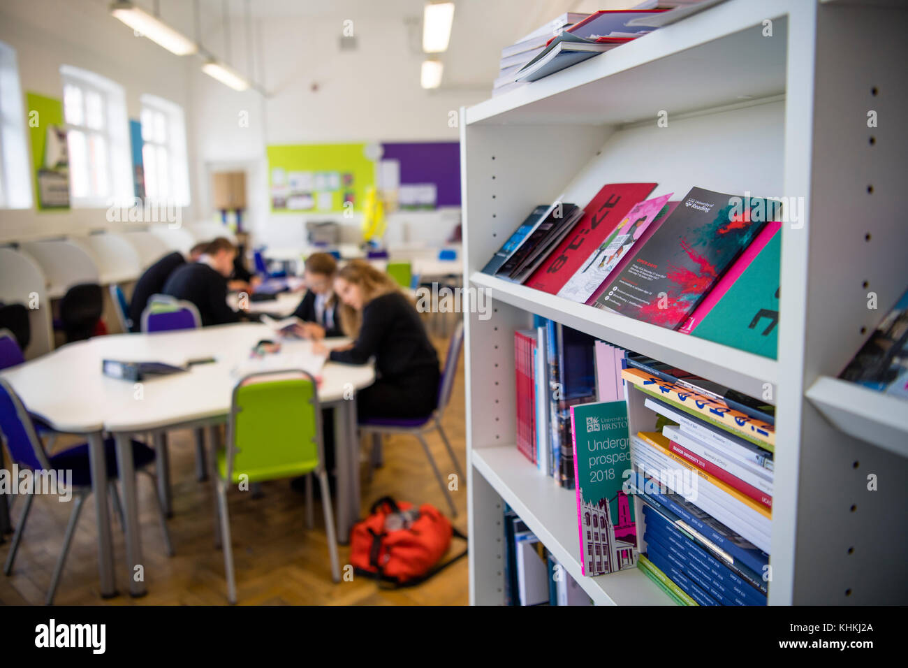 Secondary Education In The UK University Propectuses On A Bookshelf Sixth Form Common Room