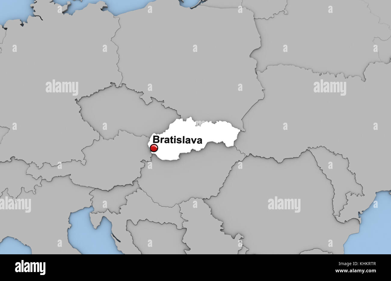 Abstract 3d render of map of Slovakia highlighted in white color and ...