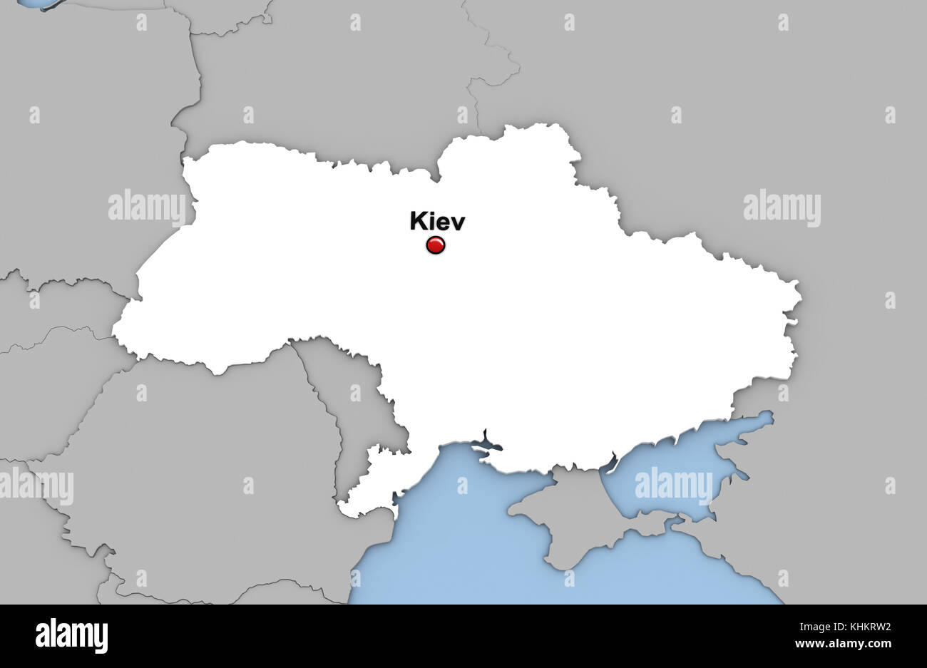 Abstract 3d Render Of Map Of Ukraine Highlighted In White Color And