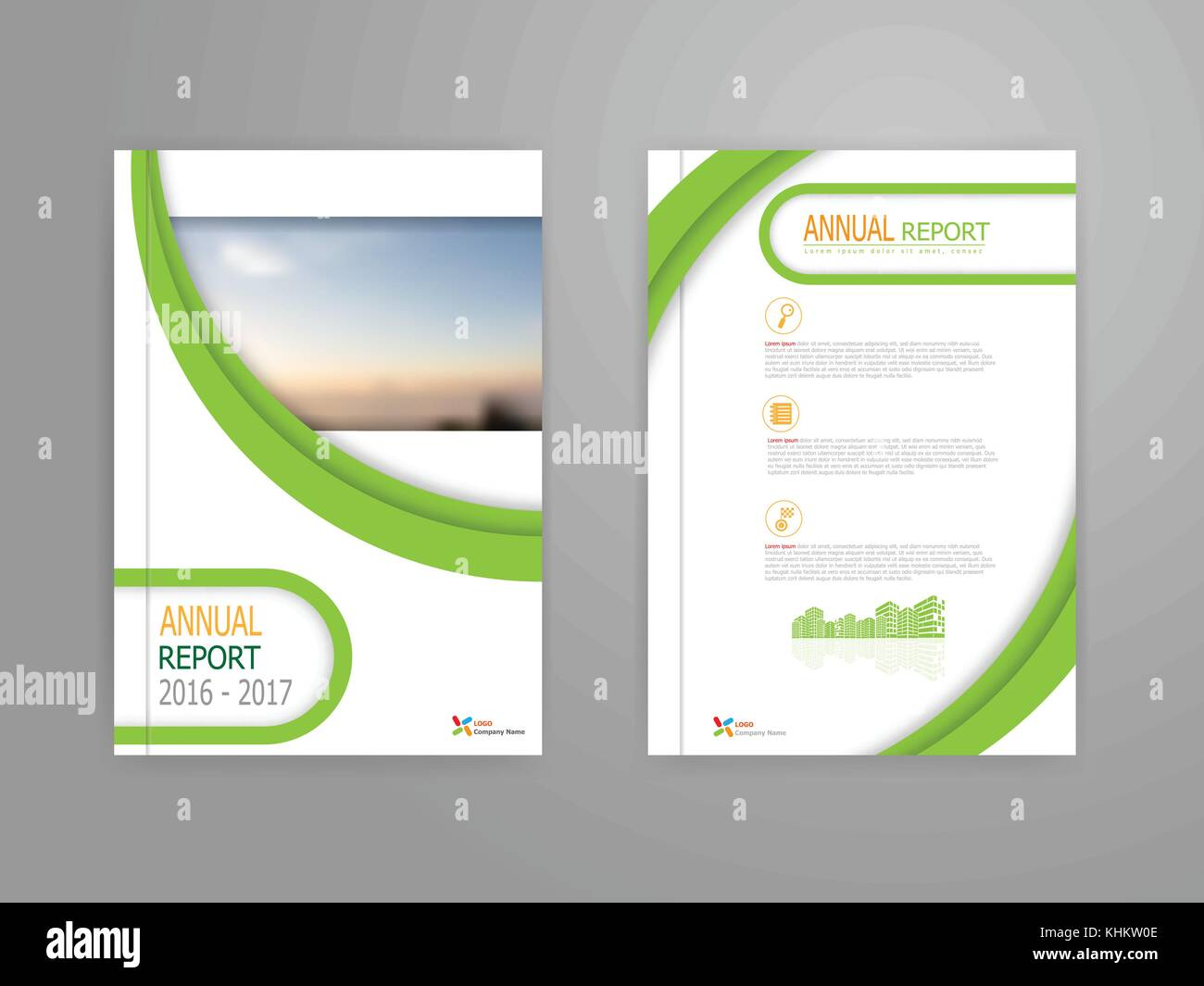 illustration of green curve cover annual report brochure flyer stock