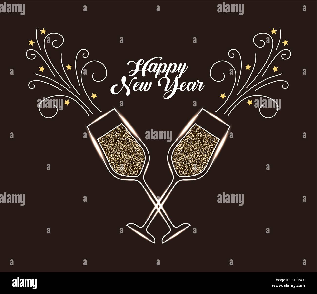 happy new year pair of champagne glass cheers drink celebration