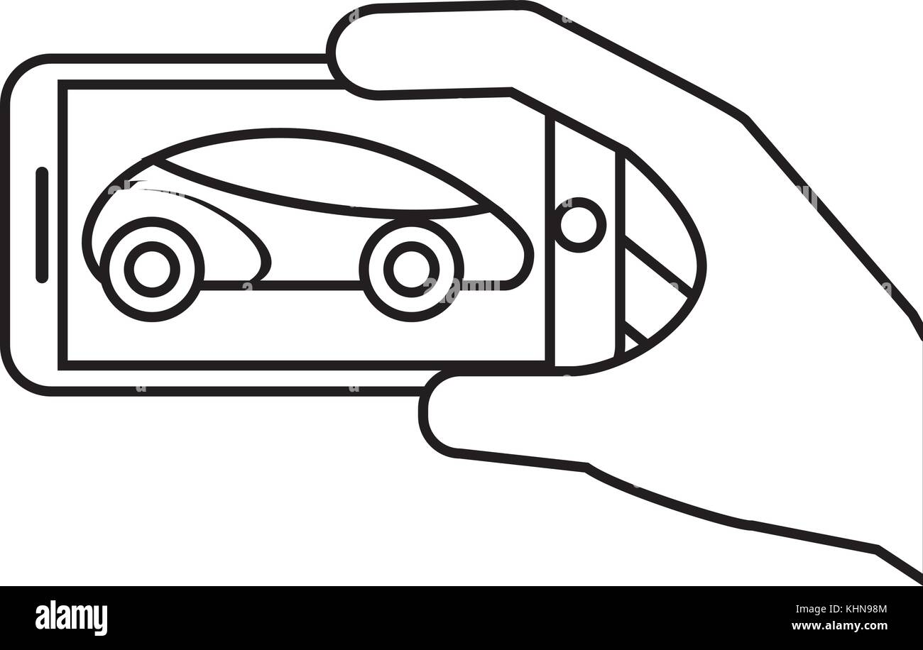 hand holding mirror drawing. hand holding smartphone gps navigation car vehicle - stock image mirror drawing