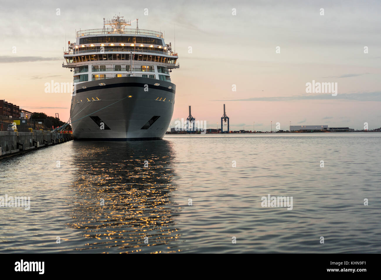 Prow Of Cruise Ship Moored In Copenhagen Harbour Stock Photo - Cruise ship copenhagen