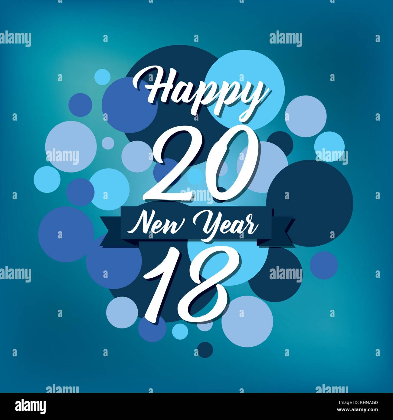 happy new year 2018 card greeting invitation event blue design