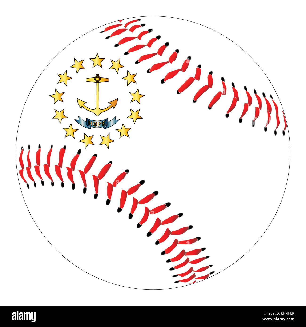 Rhode island state flag stock photos rhode island state flag a new white baseball with red stitching with the rhode island state flag overlay isolated on biocorpaavc Choice Image