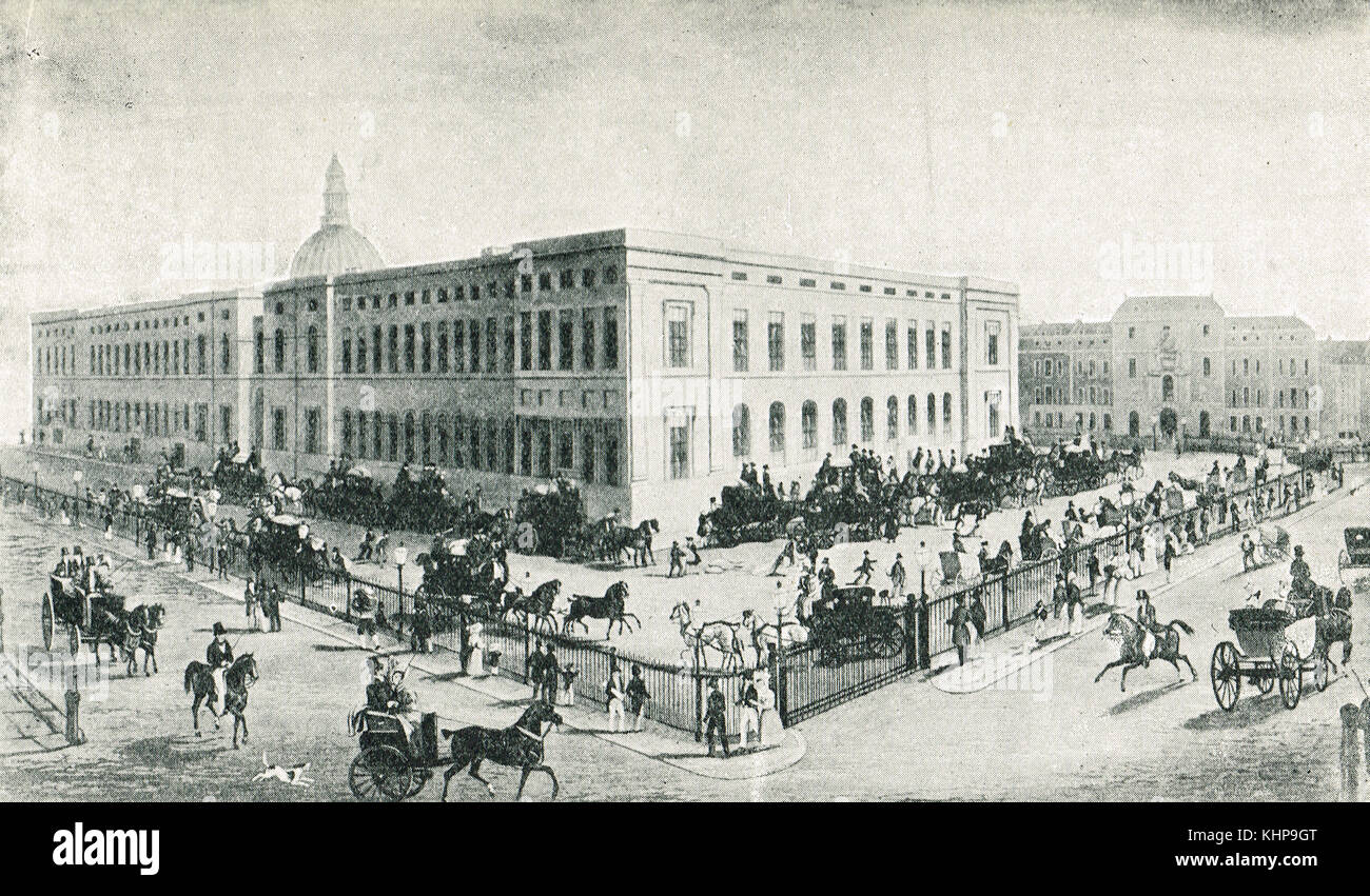 Mail coaches leaving the general post office london england 1836 stock