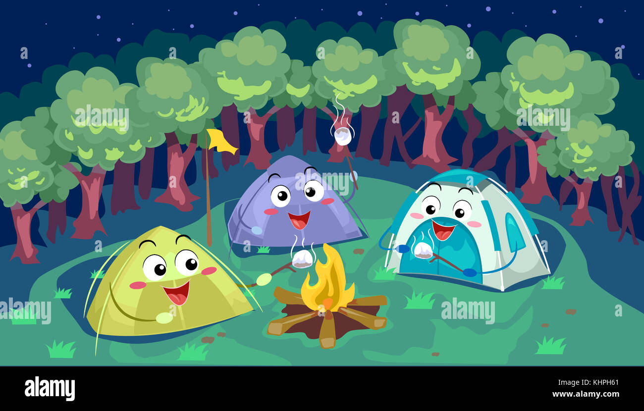Mascot Illustration of a Group of C&ing Tents Cooking Smores Together & Mascot Illustration of a Group of Camping Tents Cooking Smores ...