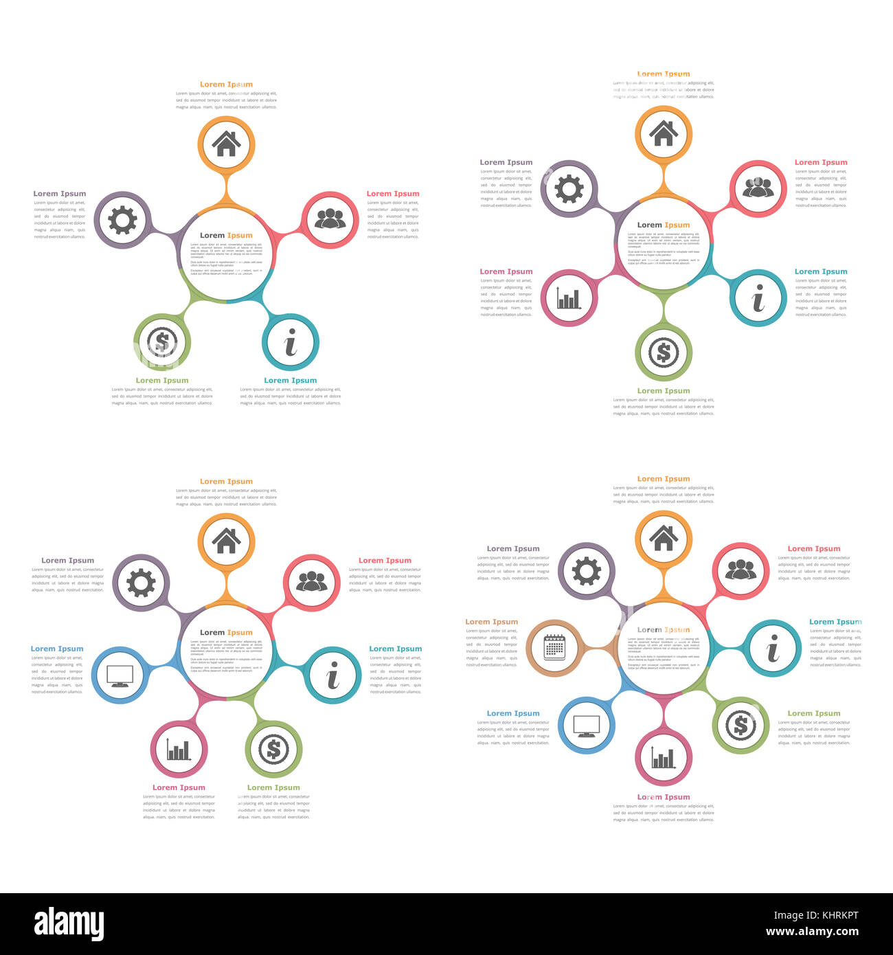 Circle flow chart seven elements stock photos circle flow chart circle diagrams with five six seven and eight elements flow chart business pooptronica