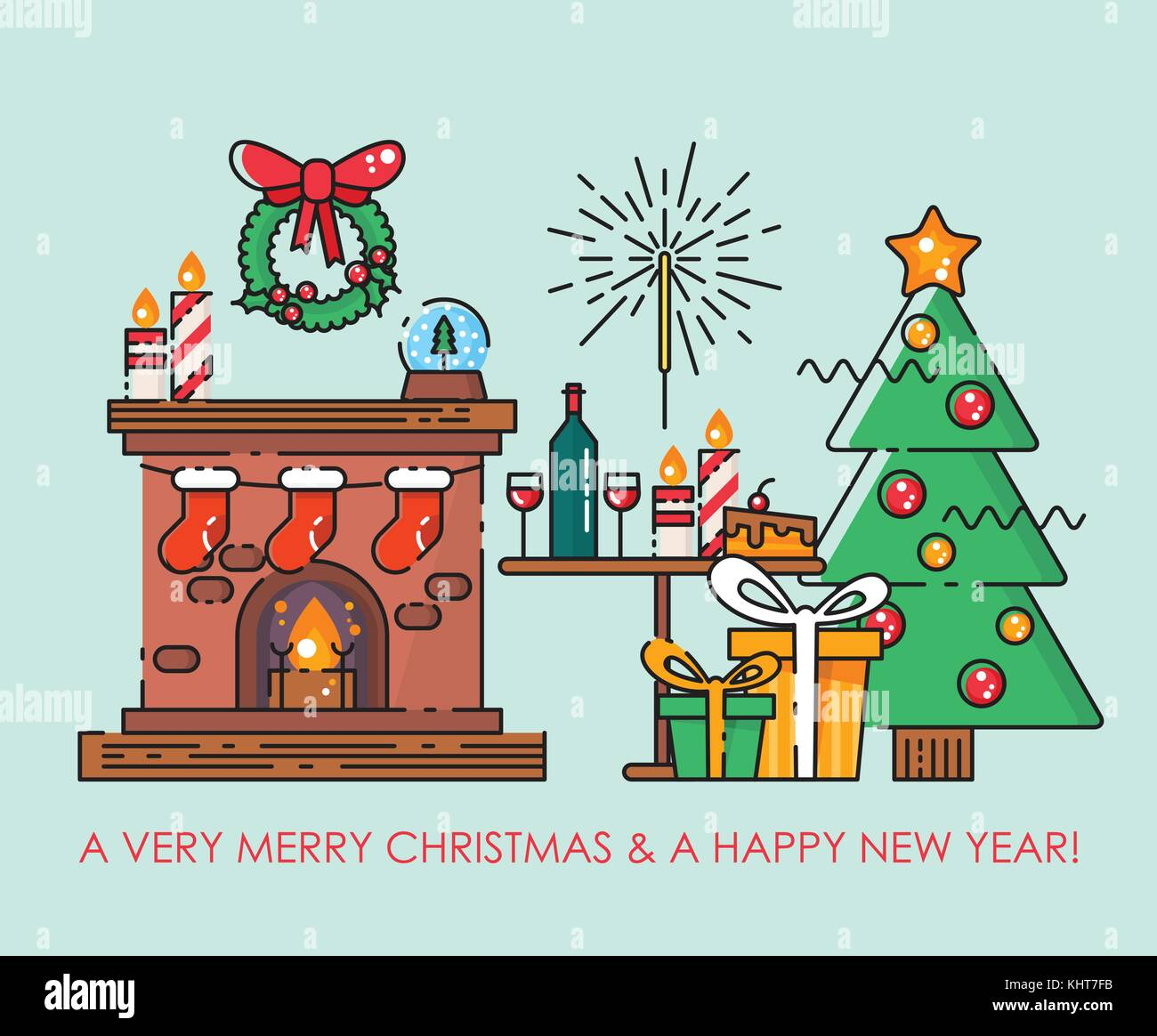 Merry Christmas Greeting Card Happy New Year Wishes Poster In Flat