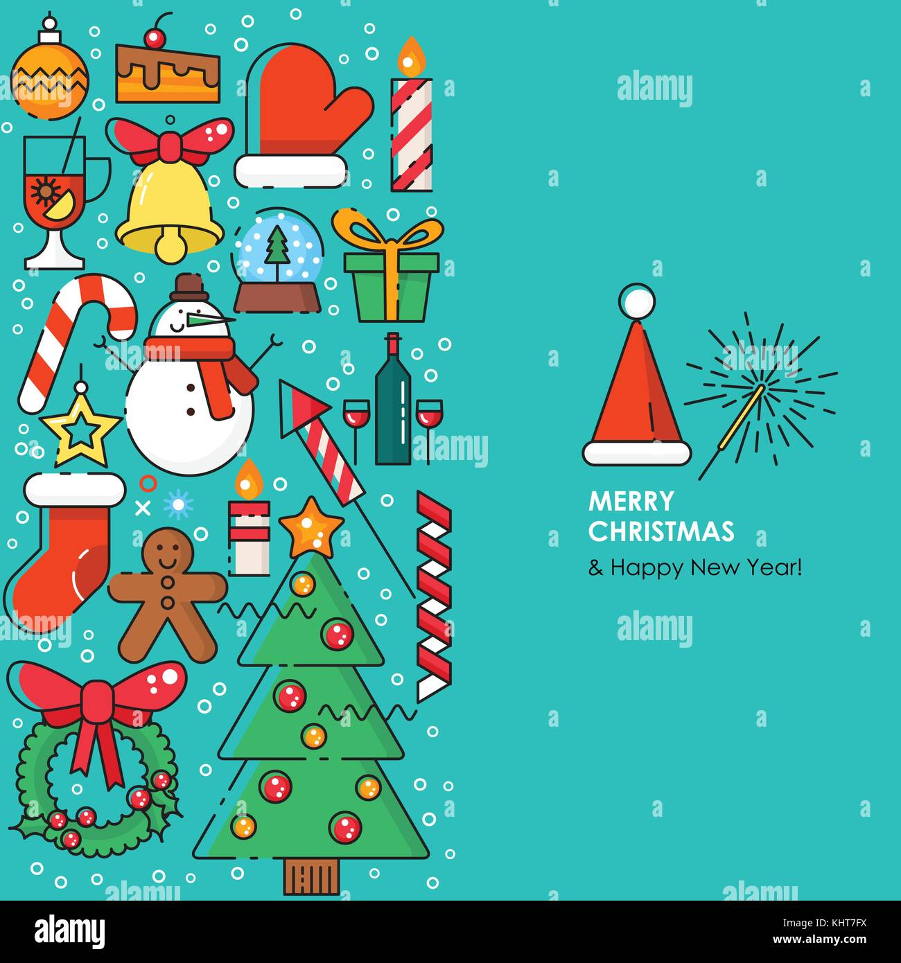 Merry Christmas greeting card. Happy New year wishes. Poster in flat ...