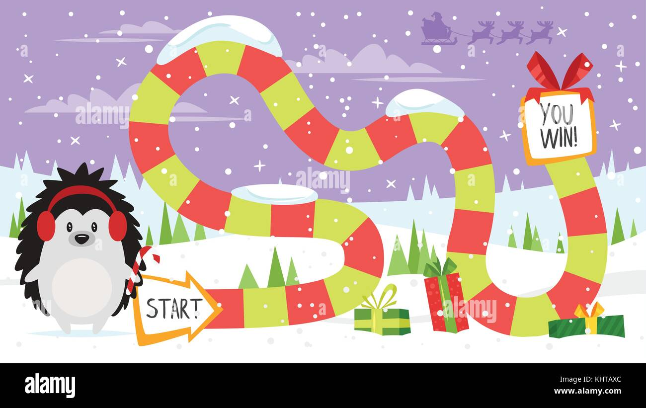 vector cartoon style illustration of kids christmas board game with hedgehog holding candy cane template for print
