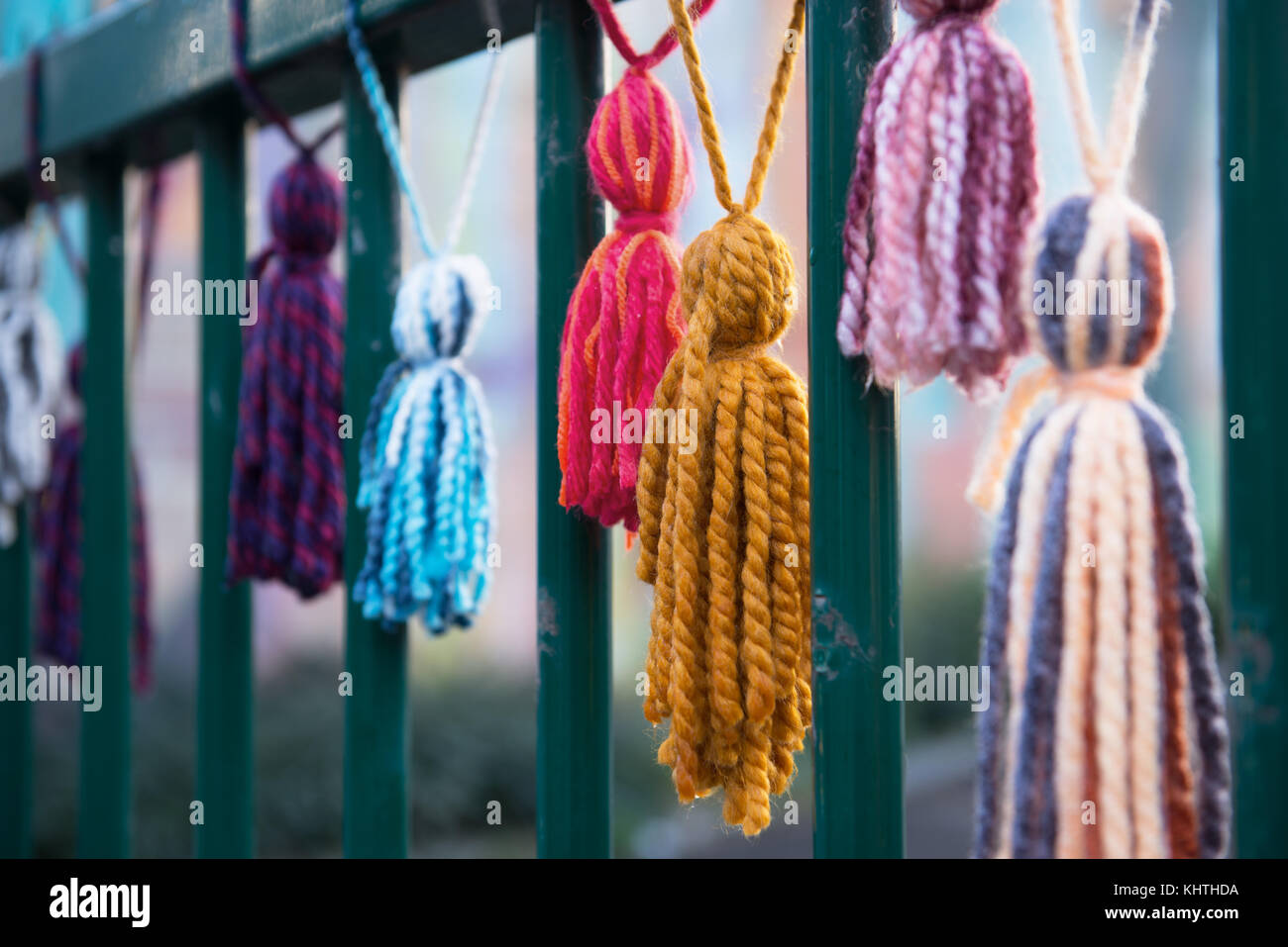 Wool Brushes Attached To Fences On The Street In Frame Of Urban Knitting Action Amateurs Decorate Center Of Mons Belgium On October 18 2017