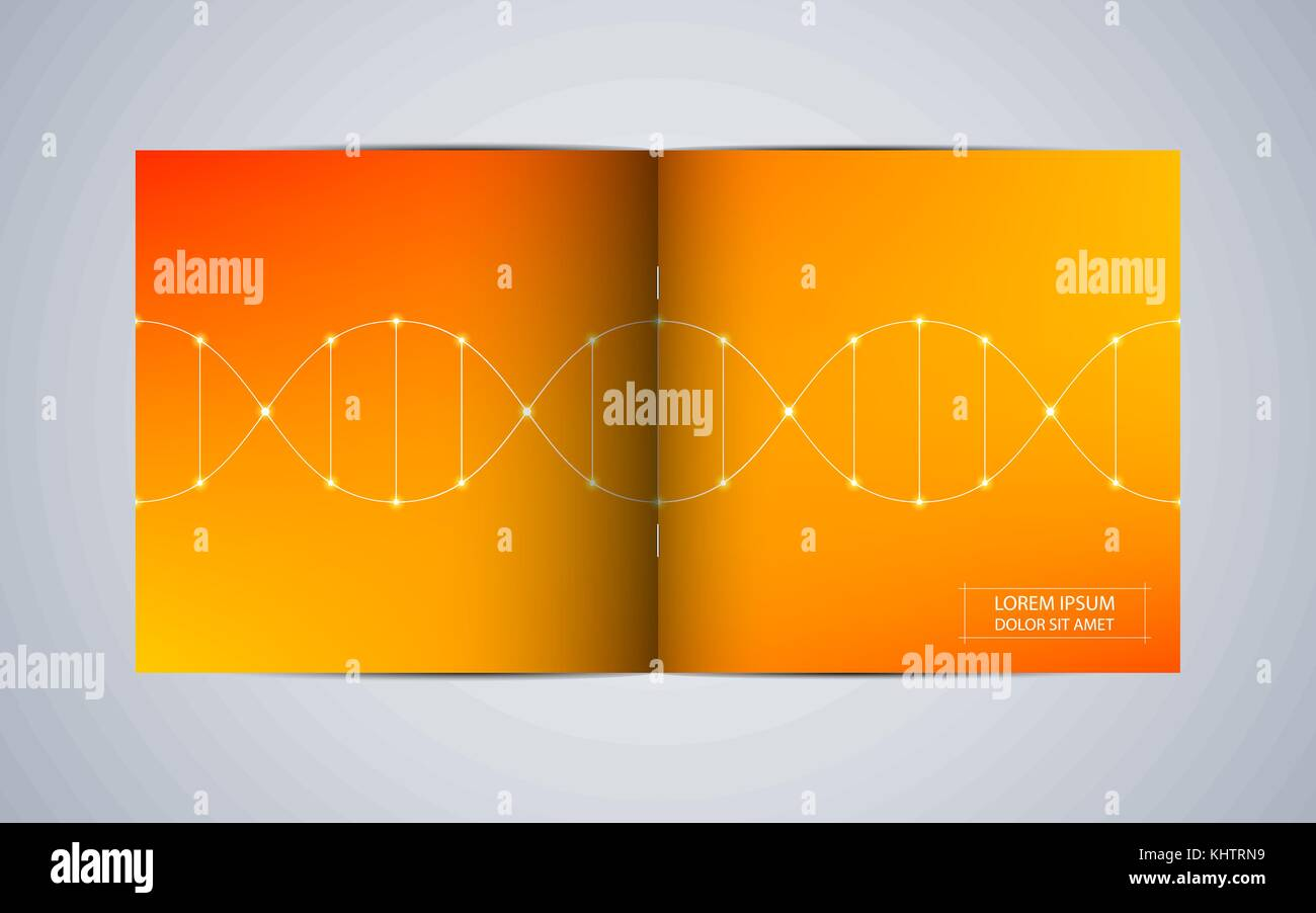 Bi Fold Square Brochure Template With Dna Molecule Background