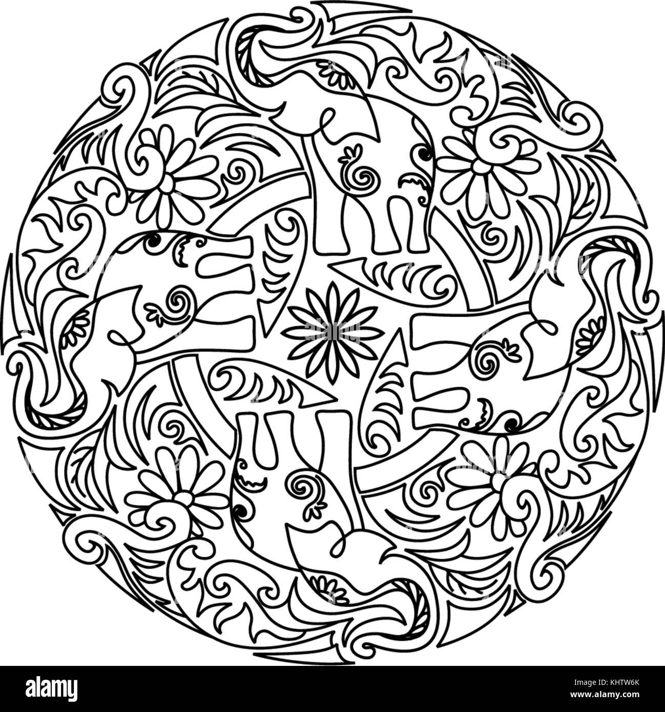 Mandala elephant design. Decorative pattern. Coloring book page ...