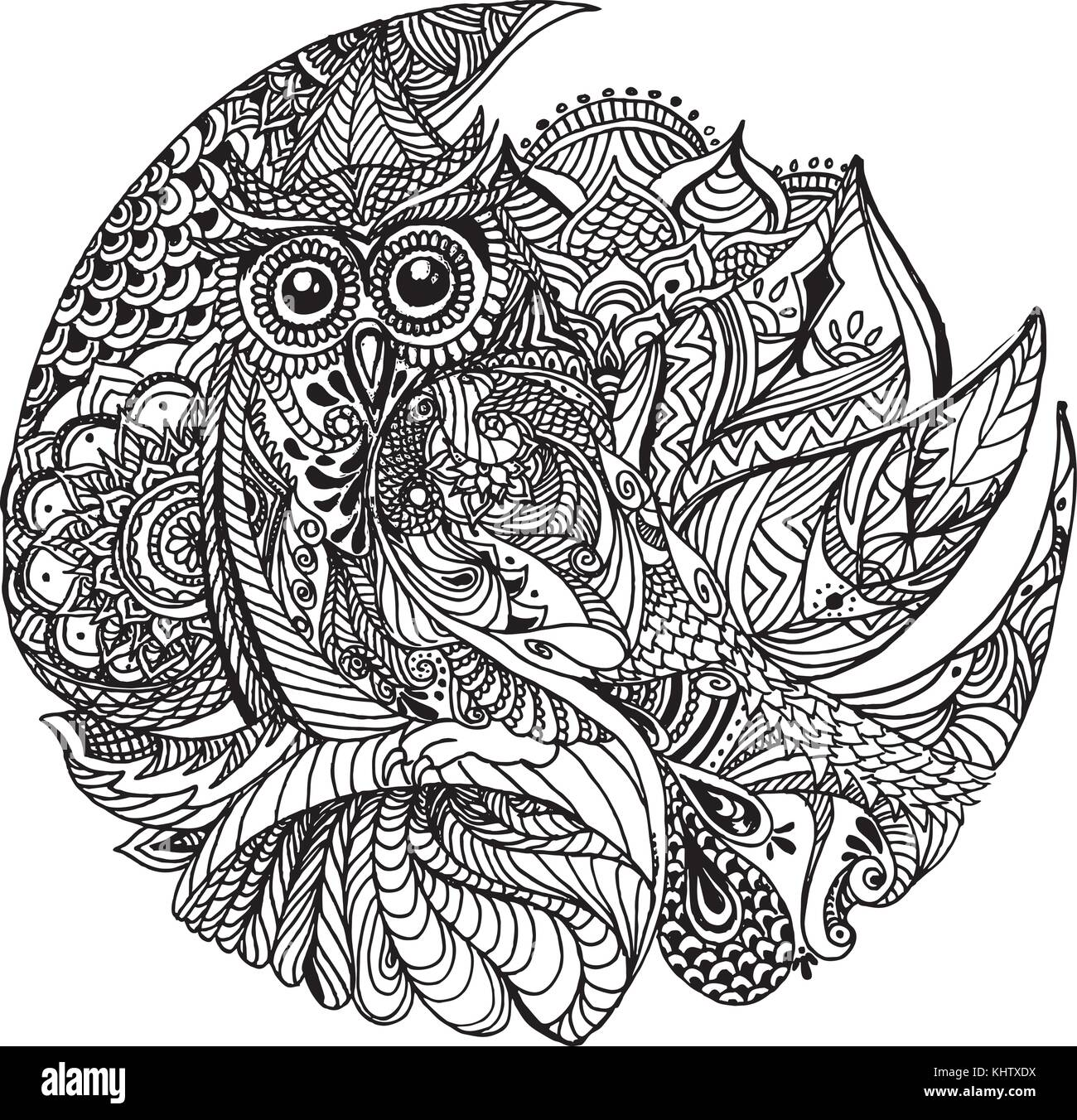 Floral Owl Design Owl Tattoo Coloring Book Page Stock Vector Art