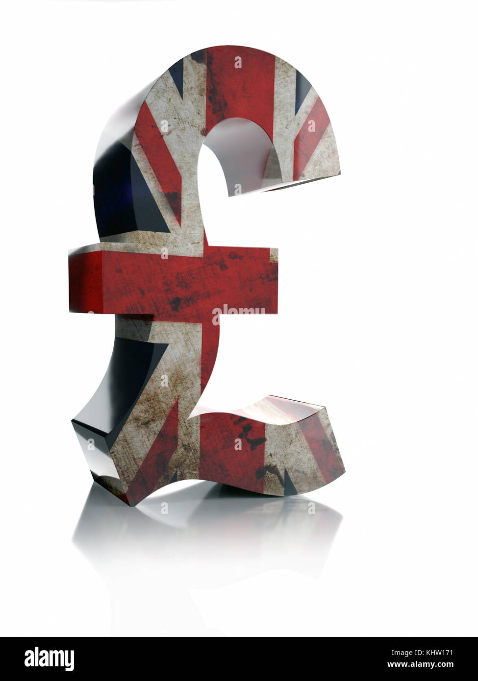 British pound sterling sign stock photos british pound sterling 3d rendering of british pound sterling currency symbol wrapped around with british flag over white background biocorpaavc Gallery