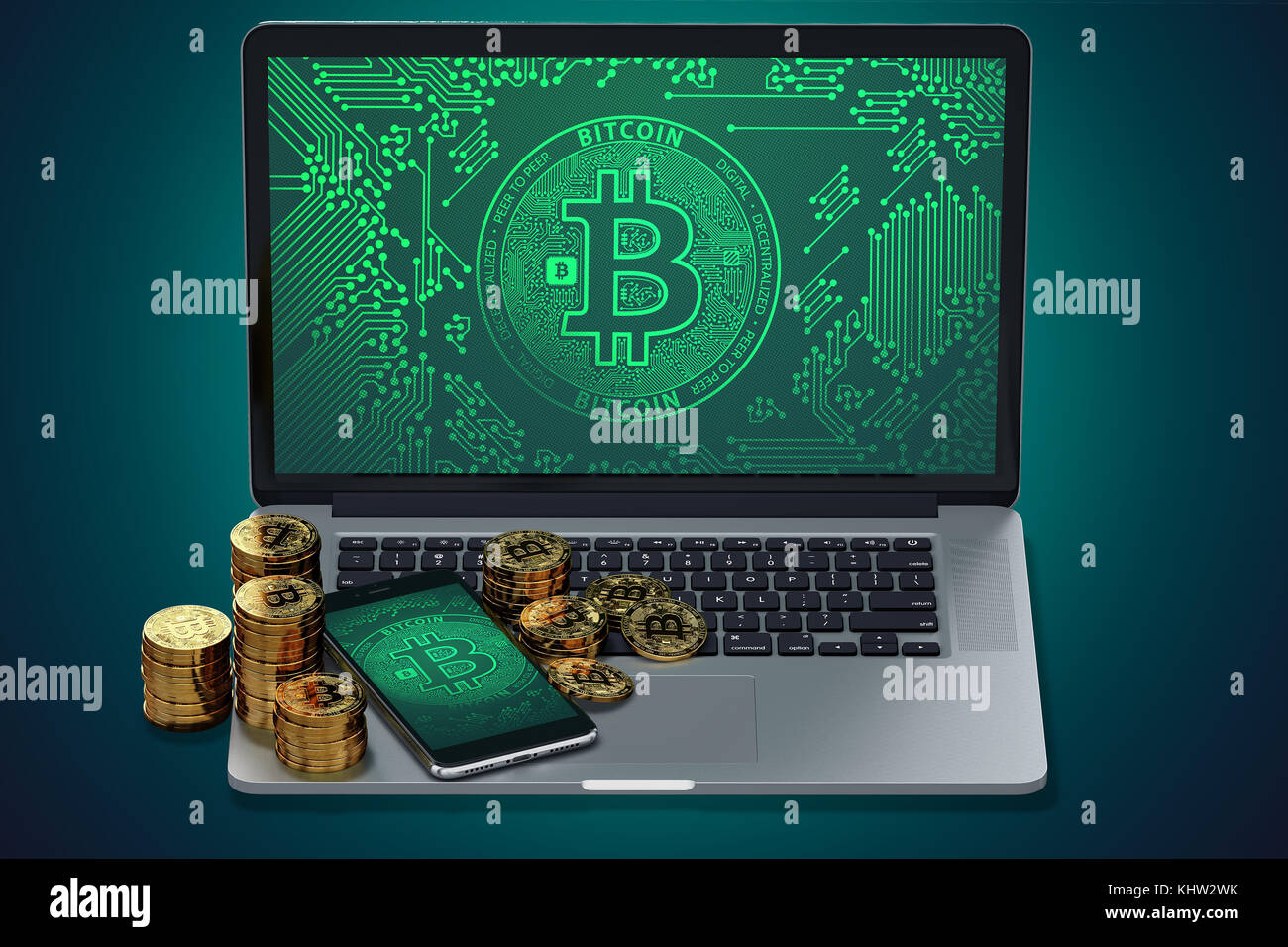 Computer and smart phone with bitcoin symbol on screen and piles computer and smart phone with bitcoin symbol on screen and piles of golden bitcoin bitcoin trading concept 3d rendering buycottarizona Choice Image