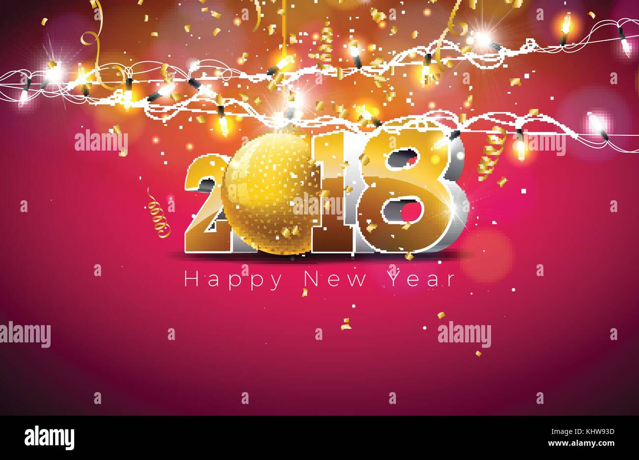 Vector Happy New Year 2018 Illustration On Shiny Red Background With